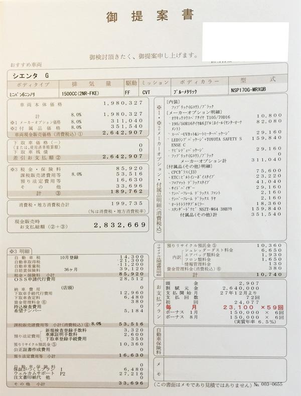トヨタ新型シエンタ ガソリン車G見積り書