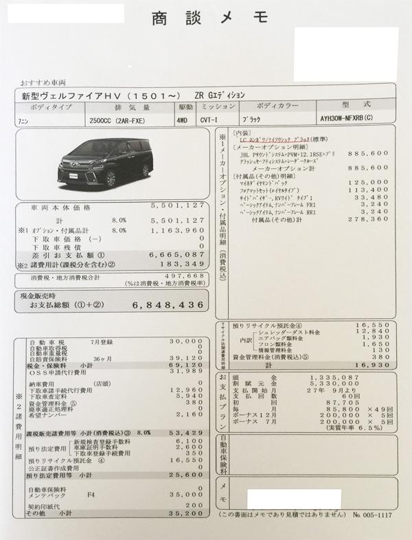 """トヨタ新型30系ヴェルファイア HYBRID ZR G""""EDITION""""見積り書"""