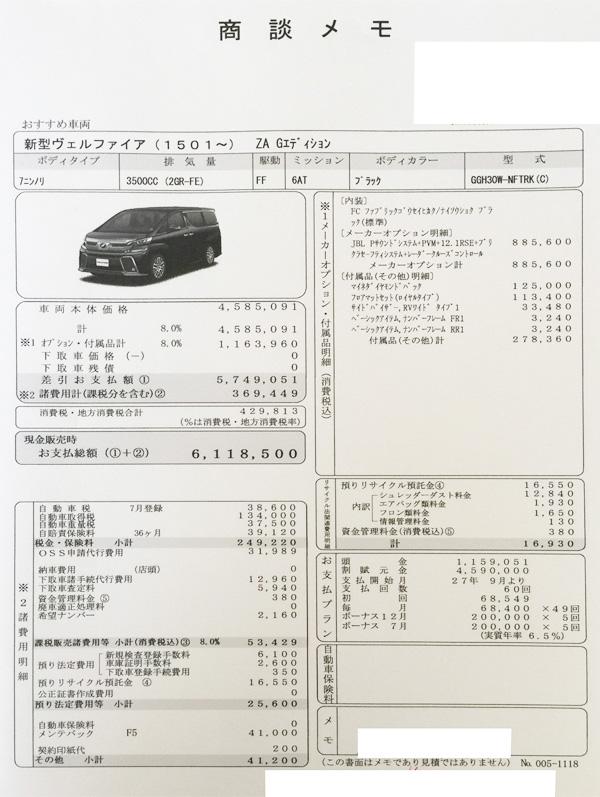 """トヨタ新型30系ヴェルファイア ZA """"G EDITION""""見積り書"""