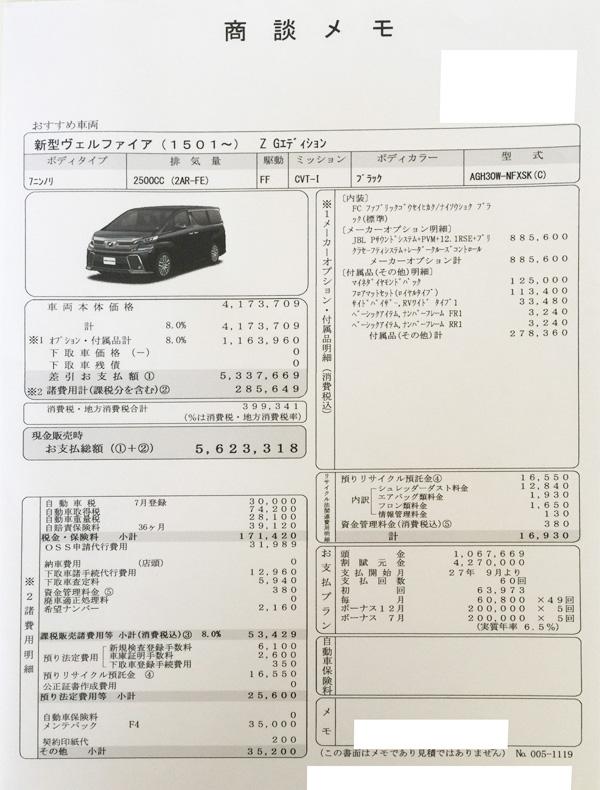 """トヨタ新型30系ヴェルファイア Z """"G EDITION""""見積り書"""