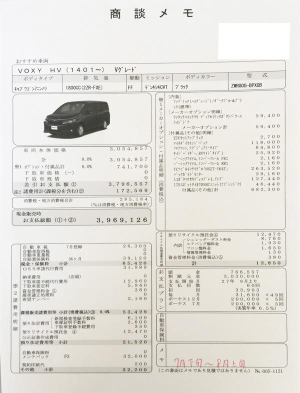 トヨタ新型ヴォクシーHYBRID V 見積り