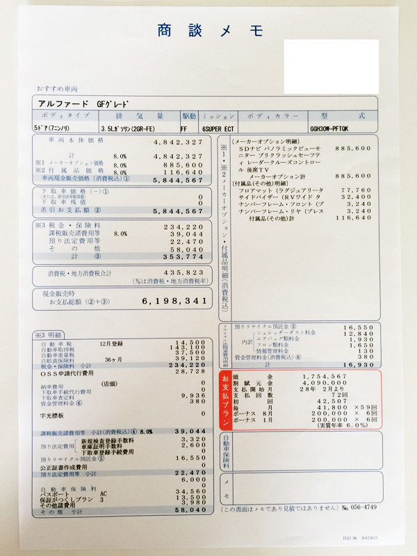 トヨタ30系新型アルファード見積り GF