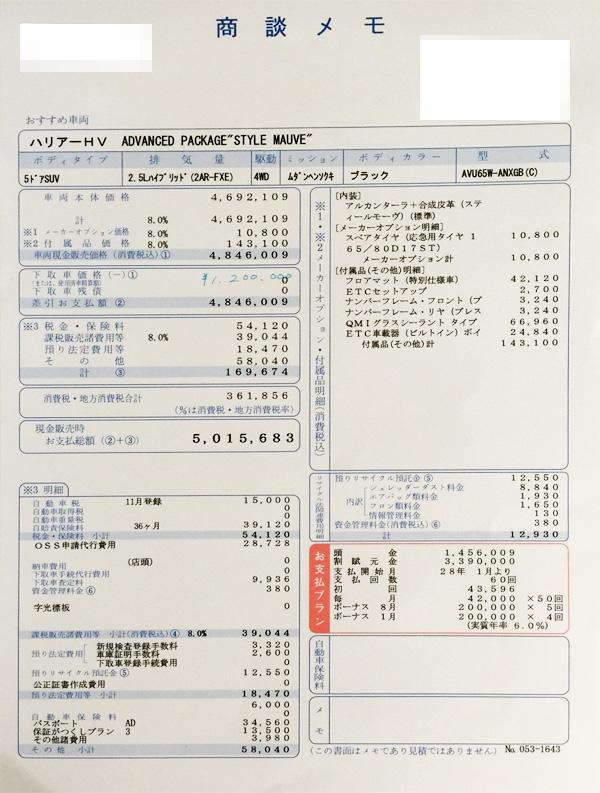 トヨタ・ハリアー 見積りHYBRIDPREMIUM Advanced Package