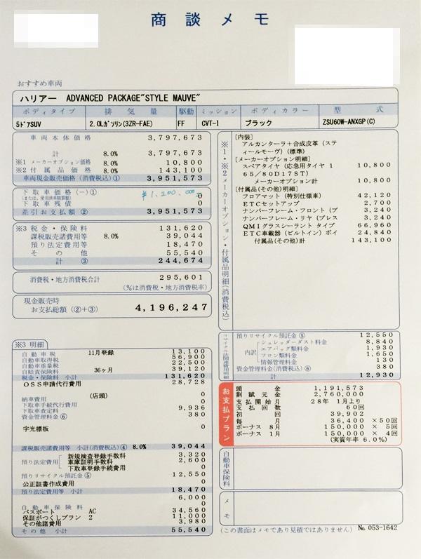 トヨタ・ハリアー 見積りPREMIUM Advanced Package
