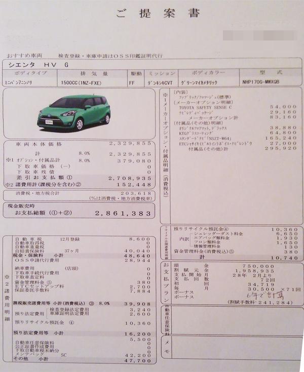 トヨタ新型シエンタ ハイブリッド車Gグレード見積り書