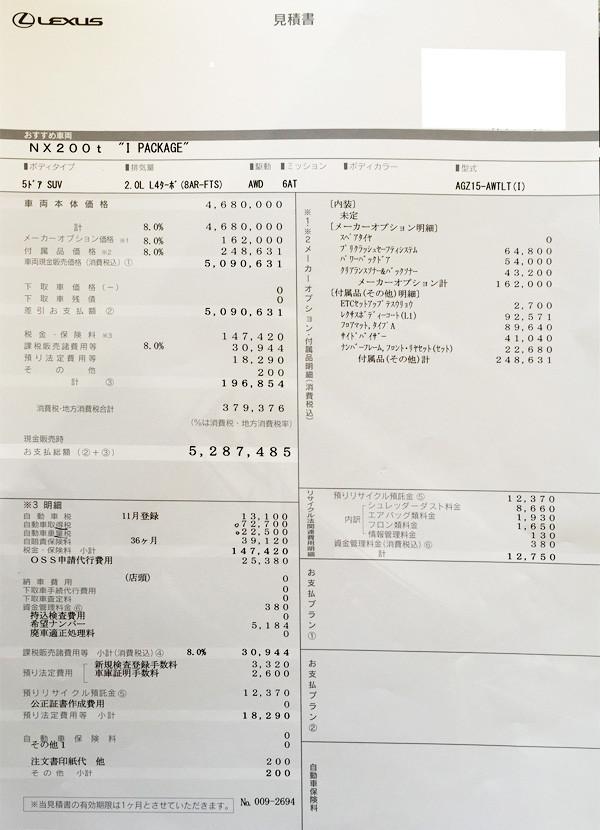 レクサス・NX200t 見積り書