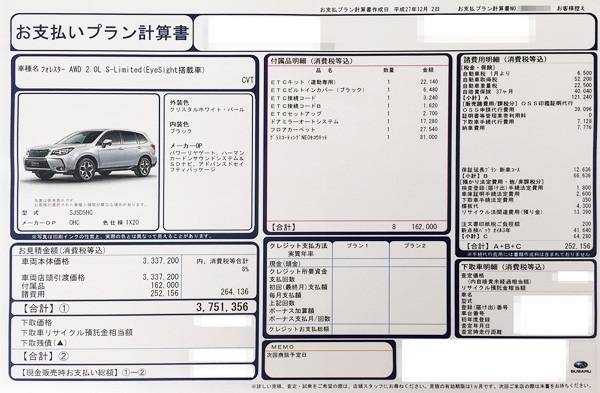 スバル・フォレスター 2.0L アイサイト搭載車 S-Limited 見積書