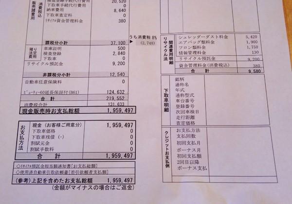 ダイハツ・タント ホワイトアクセントSAⅡ 見積書諸費用明細