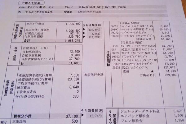 ダイハツ・タントカスタム RS SAII 見積書オプション明細