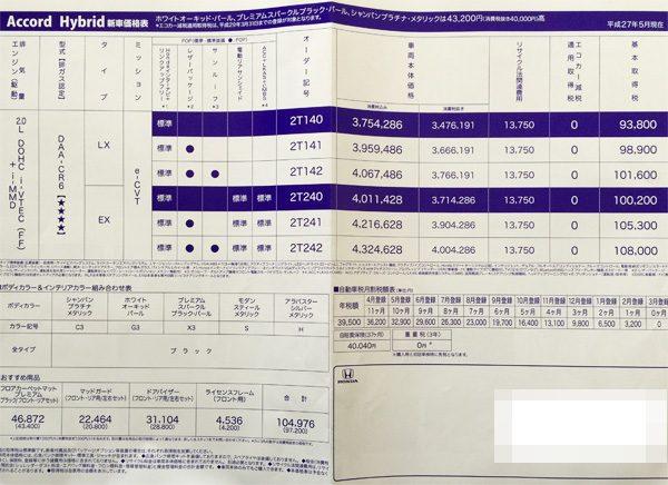 ホンダ・アコード ハイブリッド 価格表