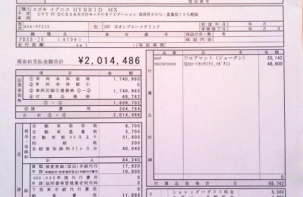スズキ・新型イグニス HYBRID MX(FF) 見積書 附属品明細