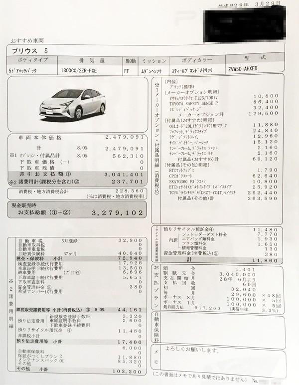 トヨタ・新型プリウス 「S」見積書