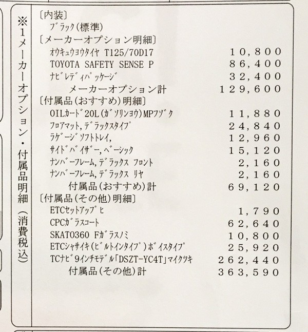 トヨタ・新型プリウス 「S」見積書 オプション明細