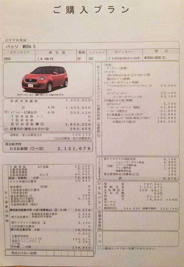 トヨタ・パッソMODA S 見積り書