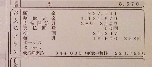 トヨタ・パッソMODA S 見積り書 残価設定型クレジットローン明細