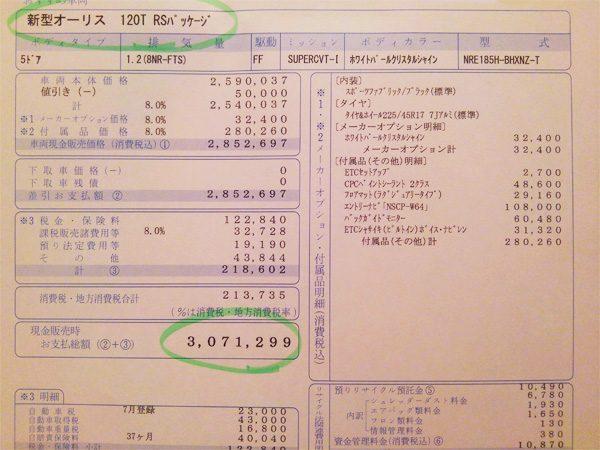 トヨタ・オーリス 120T RSパッケージ 見積書