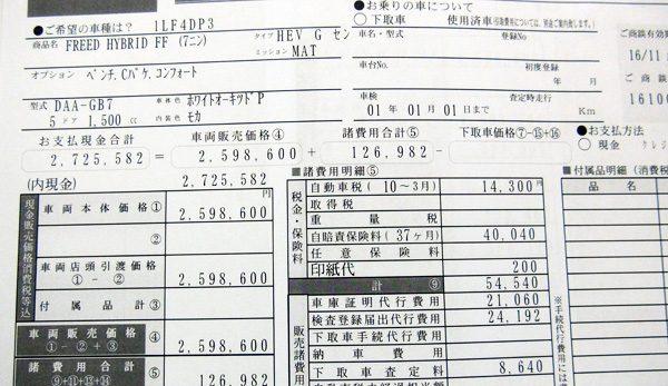 ホンダ・フリード Gホンダセンシング/7人乗り(ハイブリッド車) 見積書