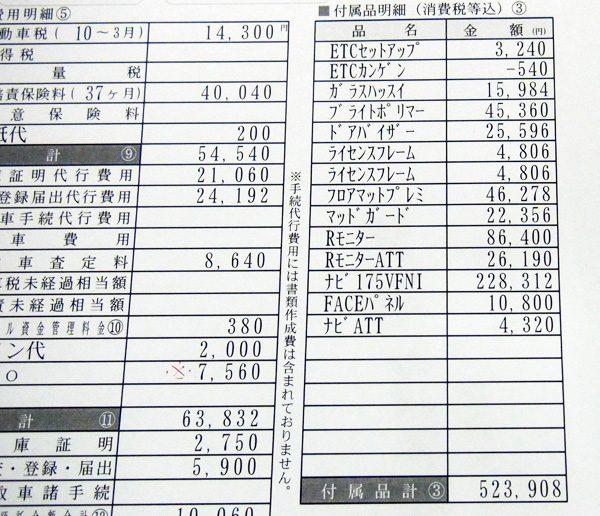 ホンダ・フリード Gホンダセンシング/7人乗り 見積書オプション明細