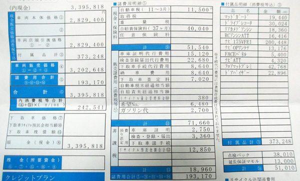 ホンダ・ヴェゼルハイブリッド RS 見積書(諸費用)