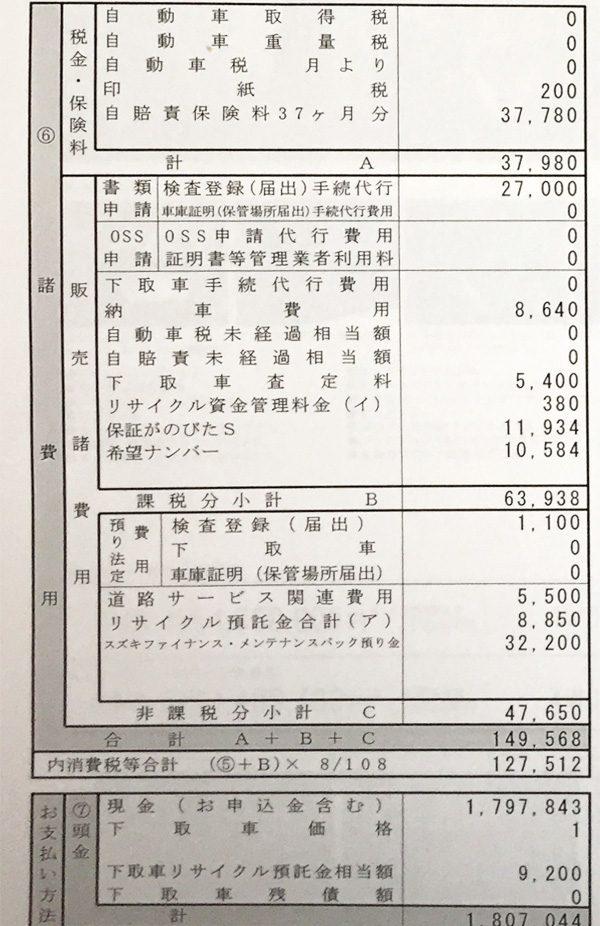 スズキ・ワゴンR HYBRID FZ 見積書 諸費用明細