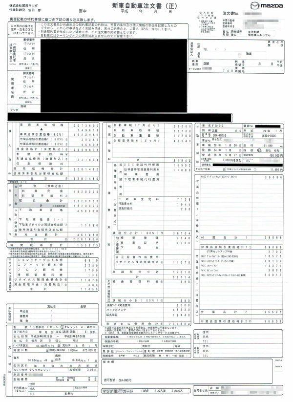 アクセラスポーツ 15S 注文書